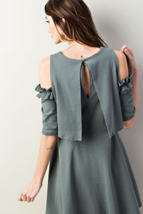 Olive Gray Elbow Sleeve Dress