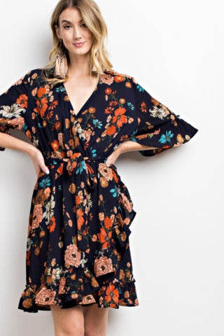 Crinkled Chiffon Floral Wrap Dress