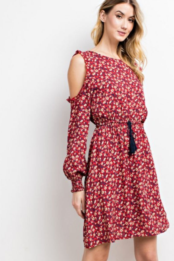 Retro Inspired Cold Shoulder Dress
