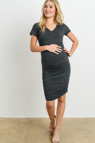 8010e7638b787 Charcoal V-neck Maternity T-shirt Dress ...