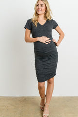 Charcoal V-neck Maternity T-shirt Dress