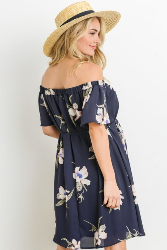 Off Shoulder Floral Print Maternity Dress