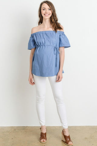 Off Shouder Tie Waist Denim Top
