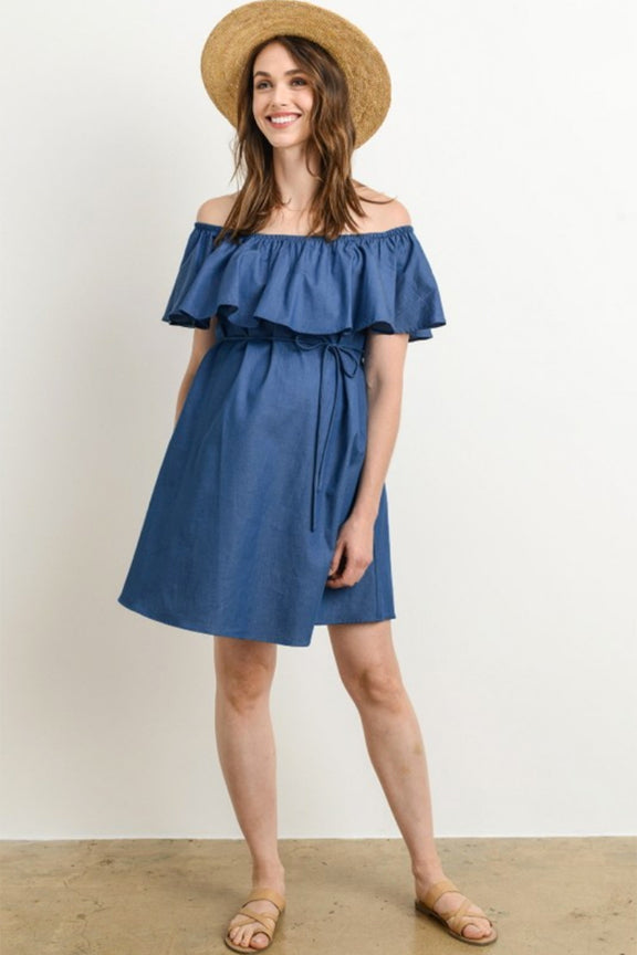 c67f9f14f936b Denim Ruffle Off Shoulder Maternity Dress – Thistle & Finn