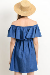 Denim Ruffle Off Shoulder Maternity Dress