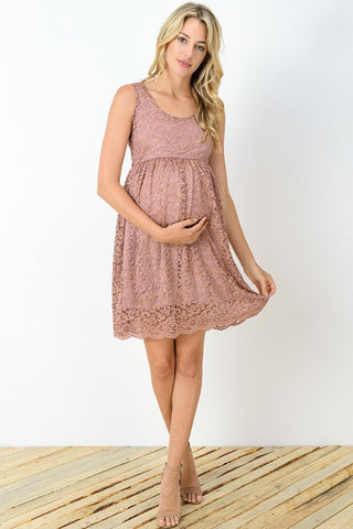 Mauve Lace Scallop Maternity Dress