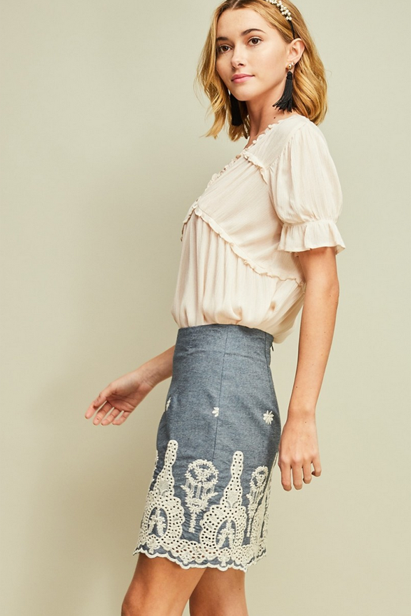 Denim Embroidered Pencil Skirt