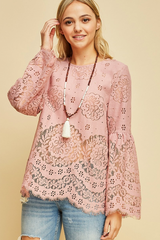 Dusty Rose Pink Lace Top