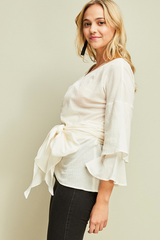 Ivory Bell Sleeve Wrap Top