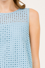 Dust Blue Crochet Cutout Ruffled Tank