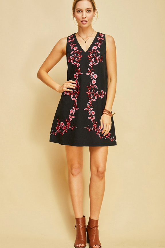 Black Embroidered V-neck Shift Dress