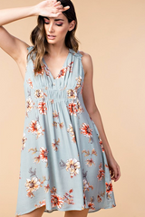 Sage Double Cinched Floral Dress