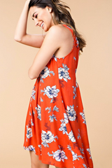 Tomato Double Cinched Floral Dress