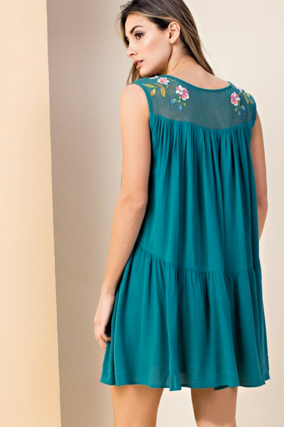 Hunter Green Embroidered Mesh Dress