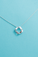 Sterling Silver Folded Square Necklace