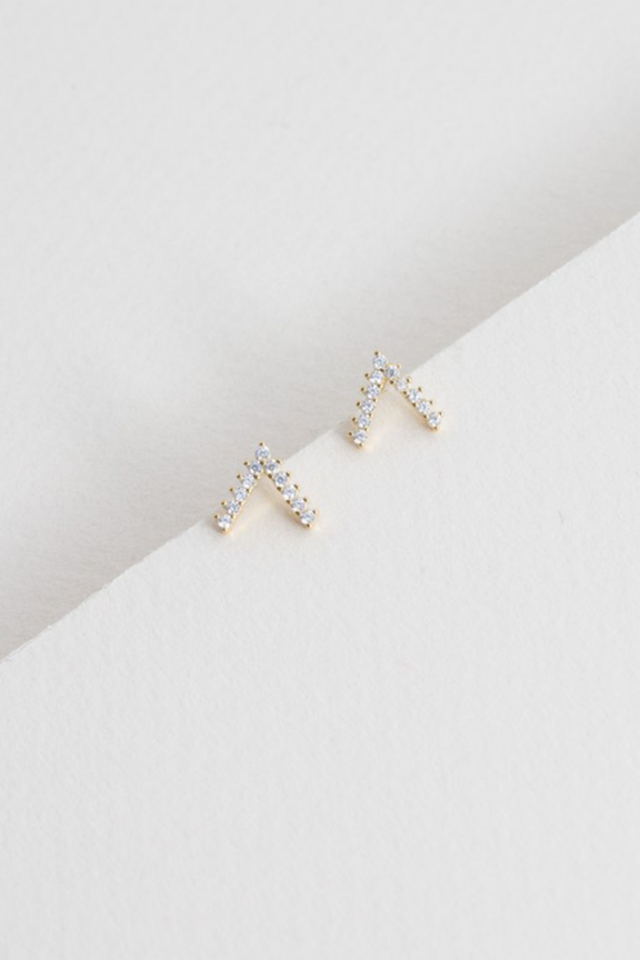 14k Pave V Earrings