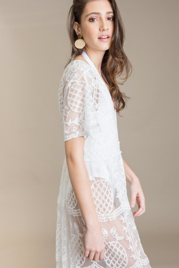 Embroidered Lace Swimsuit Cover Up
