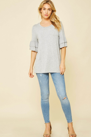 Loose Fit Ruffle Sleeve Top - 2 Colors