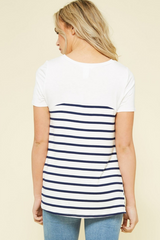 Striped Knotted Hem Top - 2 Colors