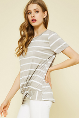 Wide Striped Knotted Top - 2 Colors