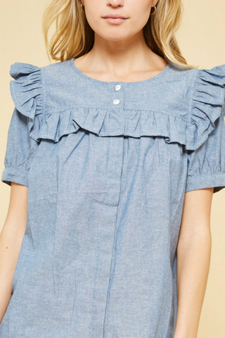 Puff Sleeve Denim Top