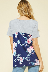 Floral Print Knotted Hem Top
