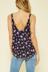 Flounce Double Layer Floral Tank Top