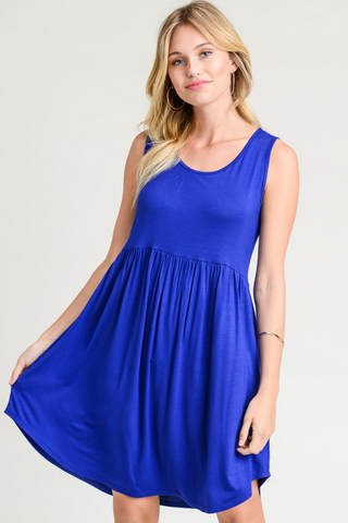 Royal Blue Sleeveless Babydoll Dress