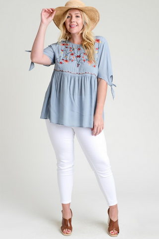 Embroidered Smocked Top