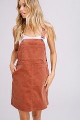 Brick Corduroy Overall Dress