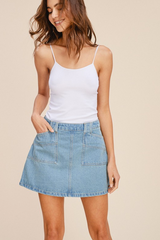 Pocketed Denim Skirt