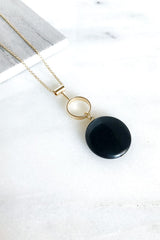 Black Stone Drop Pendant Necklace