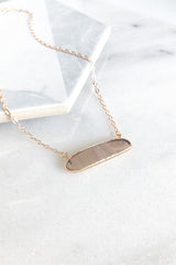Gray Natural Stone Bar Necklace