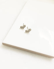 14K Gold Dipped Dainty Squatty Heart Stud Earrings
