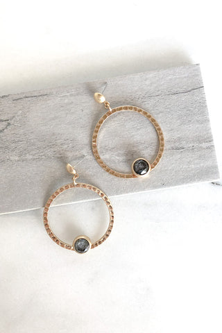 Stone Hammered Loop Earrings