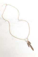 Triple Feather Dangle Necklace