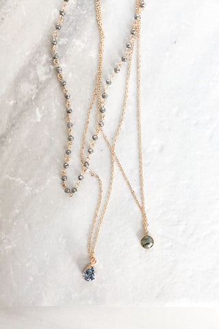 Semi Precious Triple Layer Druzy Necklace