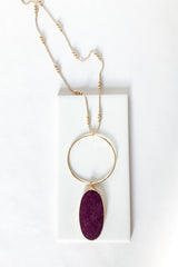 Wine Long Stone Necklace