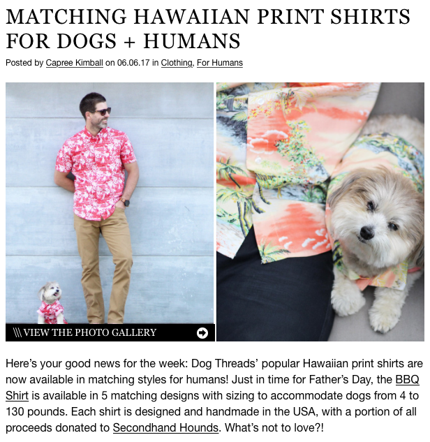 Dog Milk featuring Cool Dog Clothing Brand Dog Threads with Matching Hawaiian Print Shirts for Humans