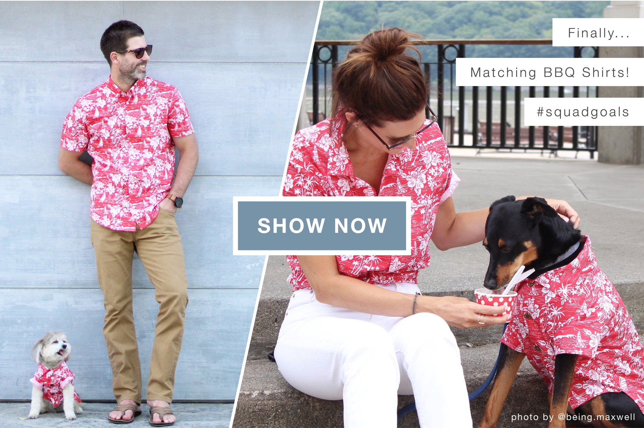 Matching Hawaiian Shirts for Humans and Dogs by Dog Threads x BBQ Shirt