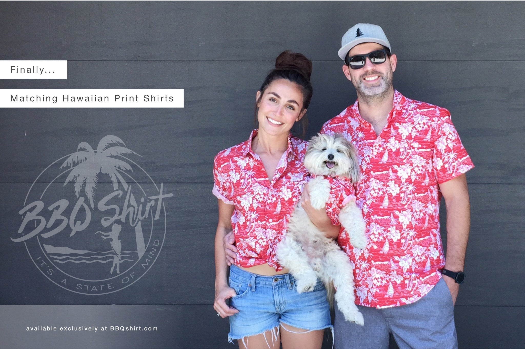 Matching Hawaiian Print Shirts for Dogs and Humans