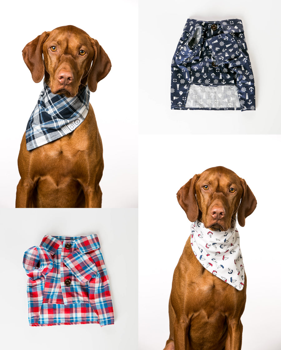 Nautical Dog Shirts and Bandanas by Dog Threads for Paw Boutik