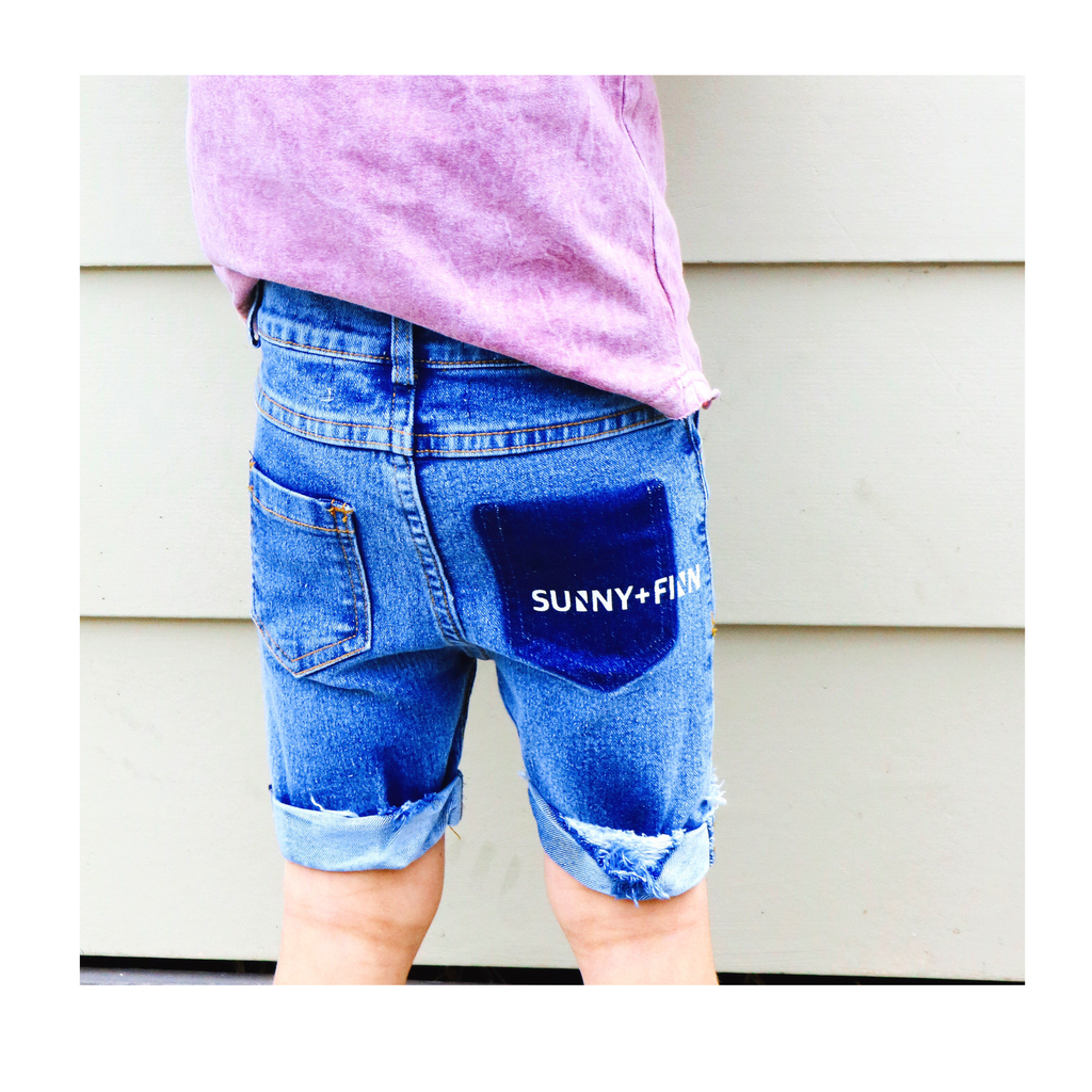 ACE SHORTS WASHED BLUE Pants + Shorts sunny+finn australia kids