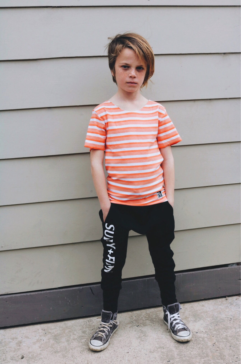 Basic Tee Stripes Orange White Tees + Tanks sunny+finn australia kids