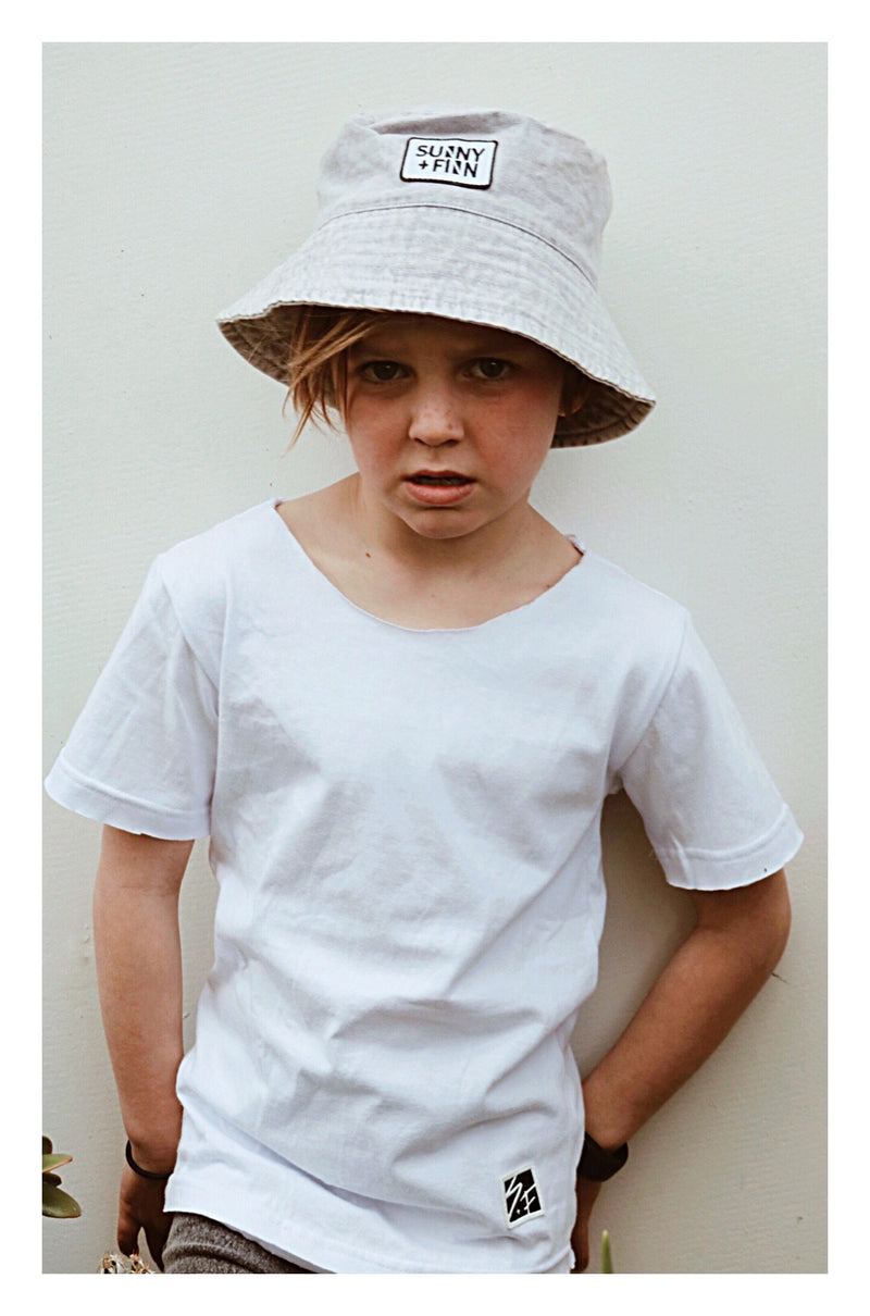 DUDE LET'S GO SURFING TEE WHITE Tees + Tanks sunny+finn australia kids