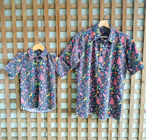 JOLLY XMAS ADULTS BUTTON UP Tops sunny+finn SMALL australia kids