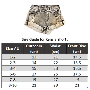 KENZIE SHORTS WASHED BLUE Pants + Shorts sunny+finn australia kids