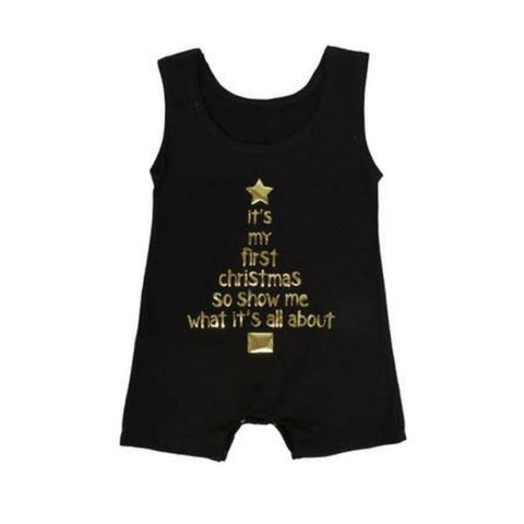 My First Christmas Tank Onesie - Balck Christmas products sunny&finn 0-3 months australia kids