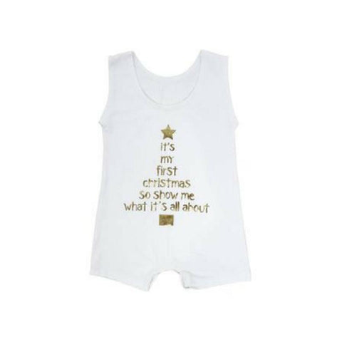 My First Christmas Tank Onesie - White Christmas products sunny&finn 0-3 australia kids