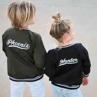 Personalised Adults Black Bomber Jacket JACKETS + JUMPERS sunny+finn australia kids